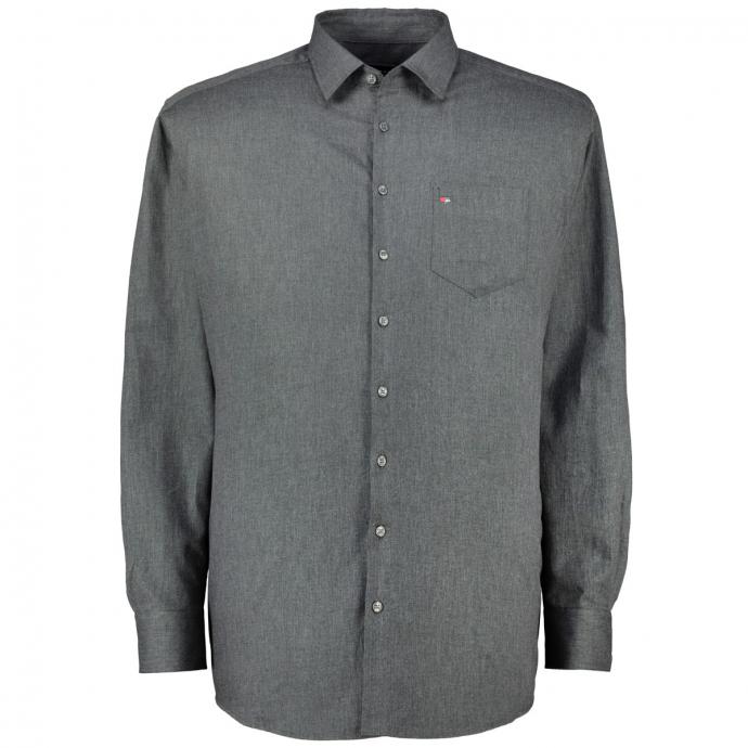 Baumwollhemd in melierter Optik, langarm grau_740 | XXL
