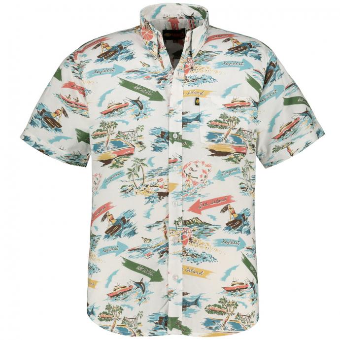 Baumwoll-Freizeithemd mit Island Allover-Print, kurzarm weiß_WEIß | 5XL
