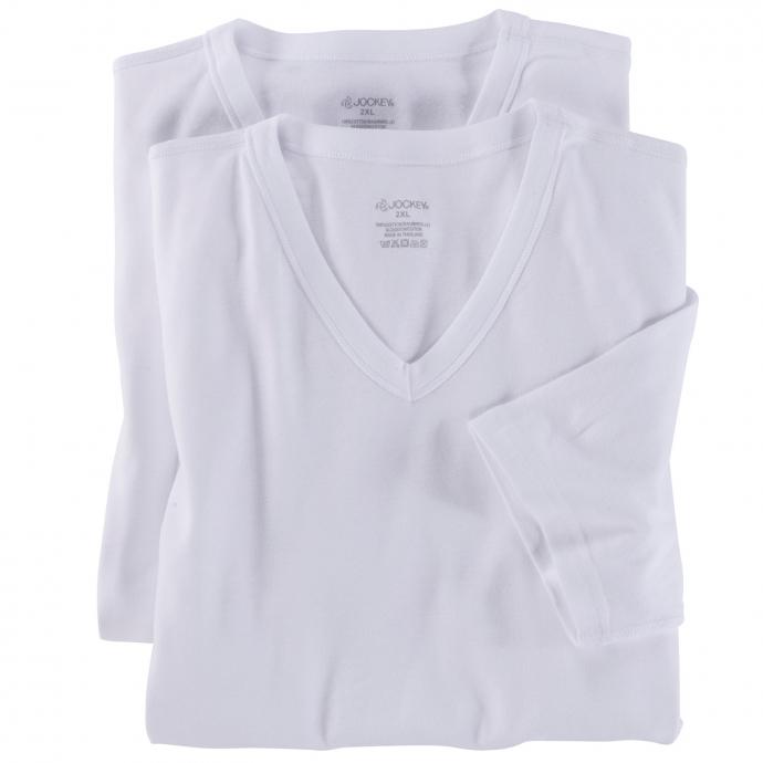 Doppelpack Unterhemden mit Arm und V-Ausschnitt weiß_1 | 8