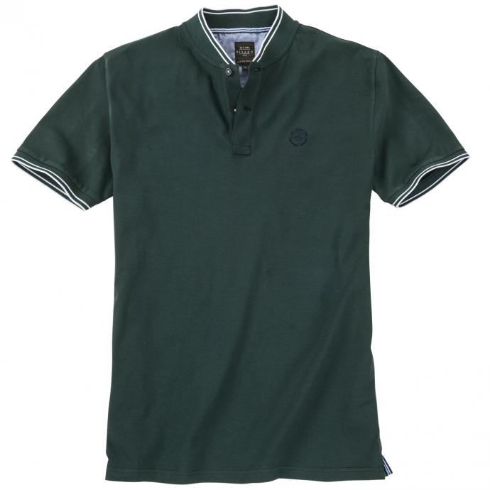 Trendiges T-Shirt mit modernem Stehkragen und Kontraststreifen petrol_576 | 4XL