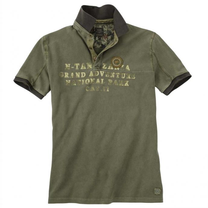 Lässiges Poloshirt im coolen Vintage-Style, kurzarm khaki_5002 | 4XL