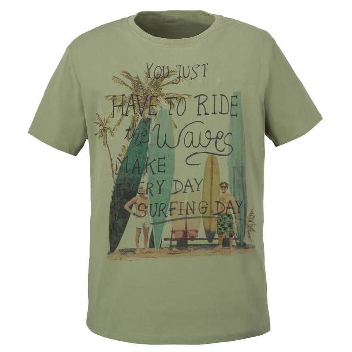 """T-Shirt mit """" You Just Have To Ride The Waves""""-Print khaki_5006 