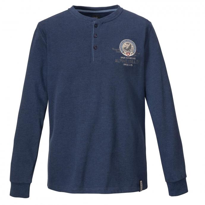 Langarm Shirt mit dekorativer Knopfleiste blau_52243 | 8XL