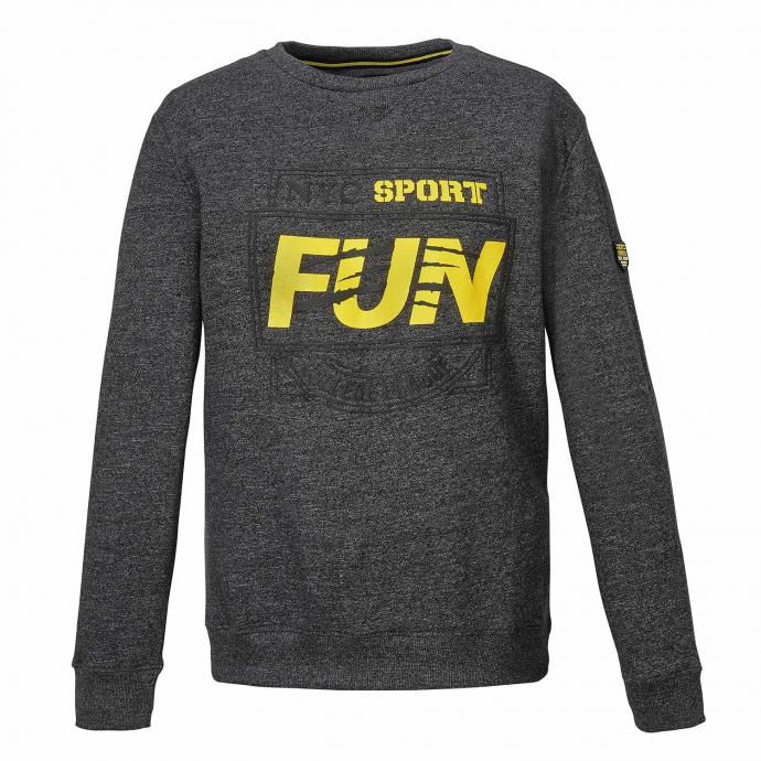 "Meliertes Sweatshirt mit ""SPORT FUN""-Print grau_5101 | 3XL"