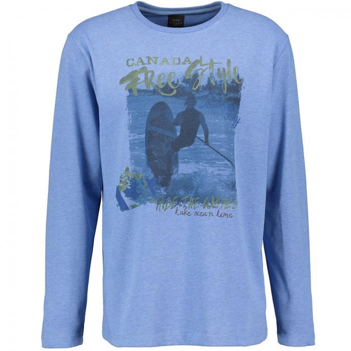 Langarm T-Shirt mit Frontprint blau_5279   5XL