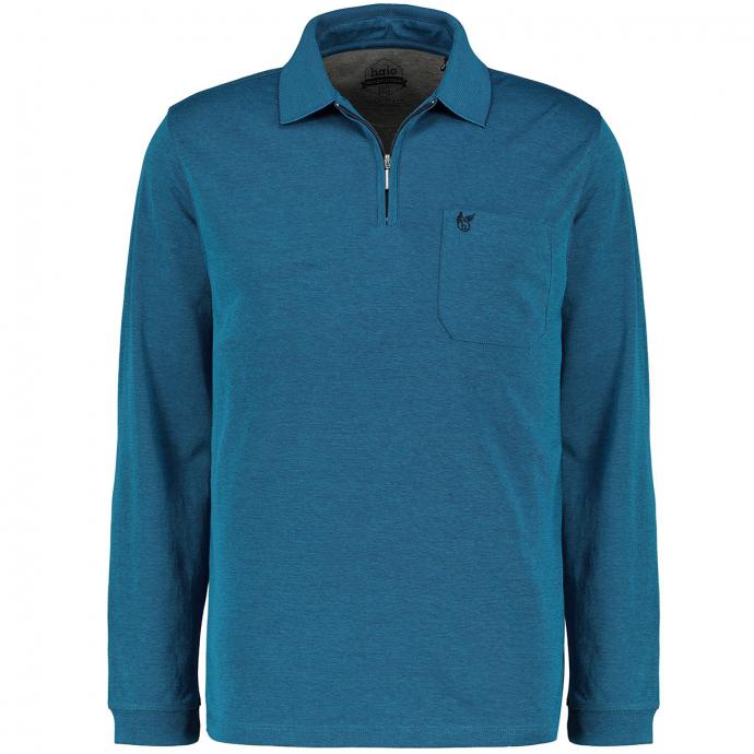 """Bügelleichtes Poloshirt in """"softknit""""-Qualität, langarm azur_620   6XL"""