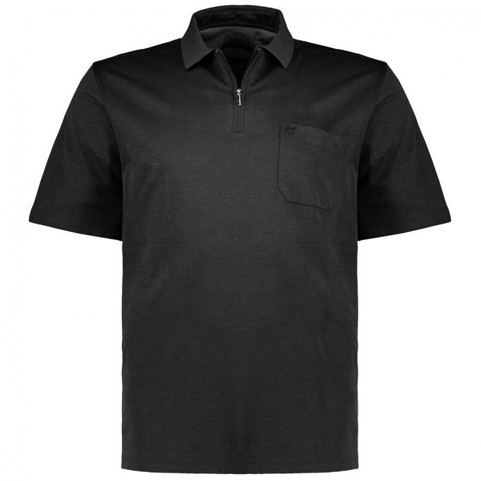 "Poloshirt ""Stay Fresh"" mit Zip, kurzarm schwarz_100   58"