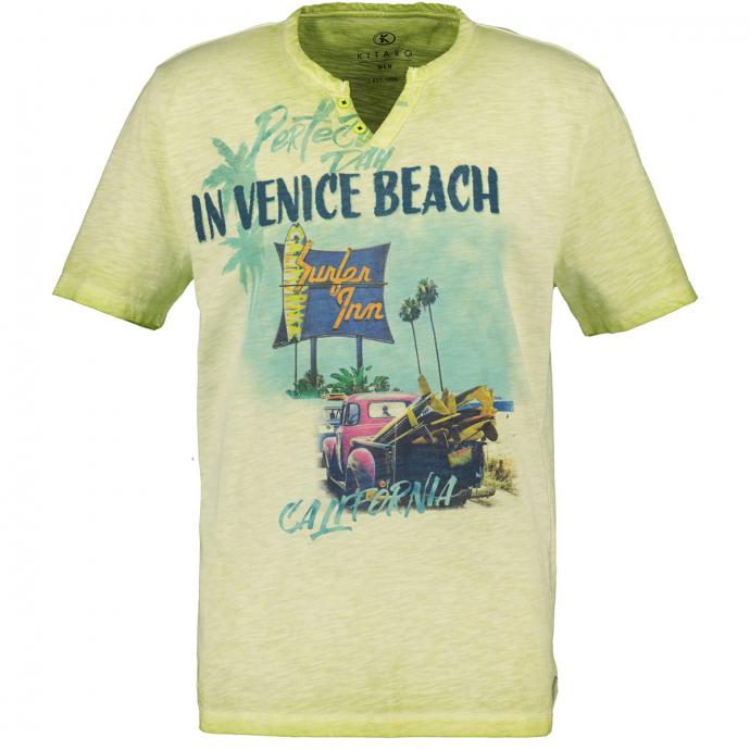 Sommerliches T-Shirt mit plakativem Frontprint grün_549 | 3XL