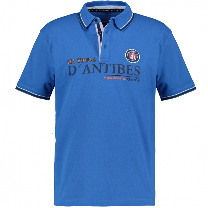 Strukturiertes Poloshirt mit auffälligem Brustprint königsblau_268 | 3XL
