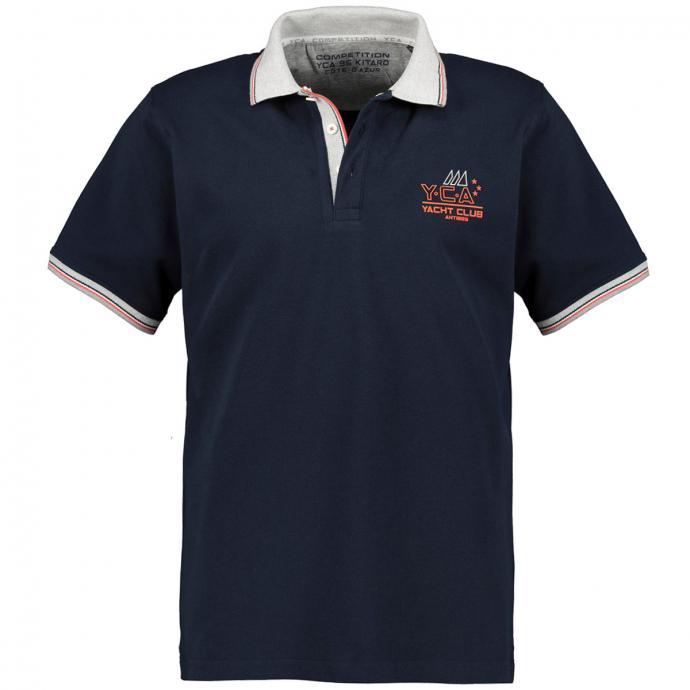 Strukturiertes Poloshirt mit Brustprint dunkelblau_210 | 4XL