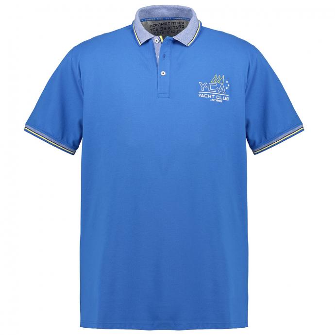 Strukturiertes Poloshirt mit Brustprint königsblau_268 | 3XL