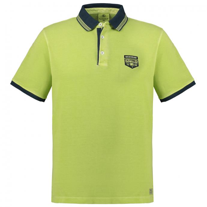 Strukturiertes Poloshirt mit Emblem grün_549 | 3XL