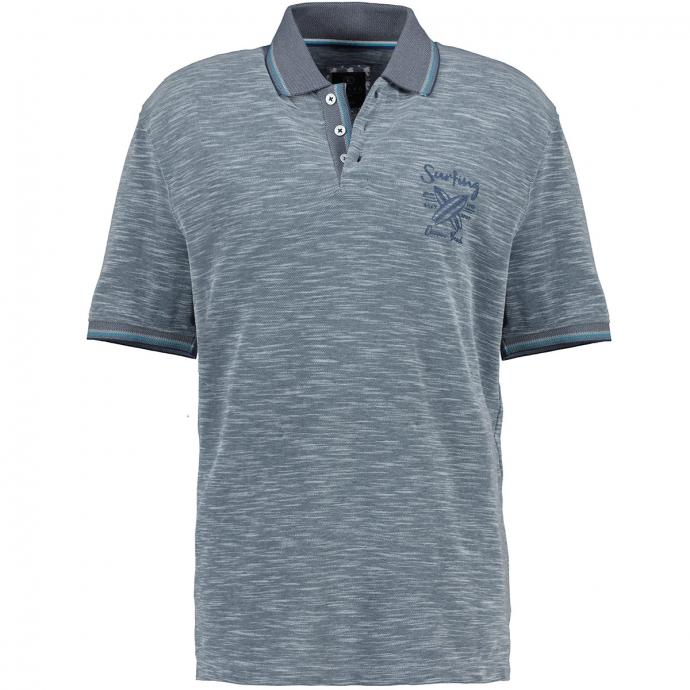 Meliertes Poloshirt mit farbigen Akzenten graublau_213 | 4XL
