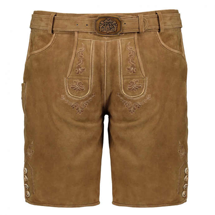 Kurze Lederhose mit traditioneller Stickerei braun_63/90 | 31