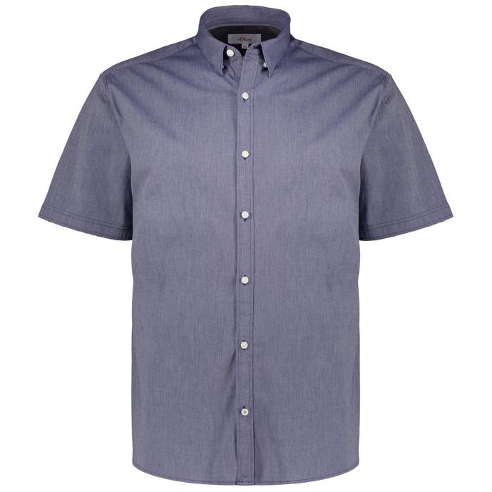 Strukturiertes Stretch-Freizeithemd, kurzarm blau_56G6   3XL
