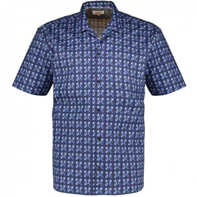 Lässiges Freizeithemd aus leichter Popeline mit Alloverprint, kurzarm dunkelblau_56A0   3XL