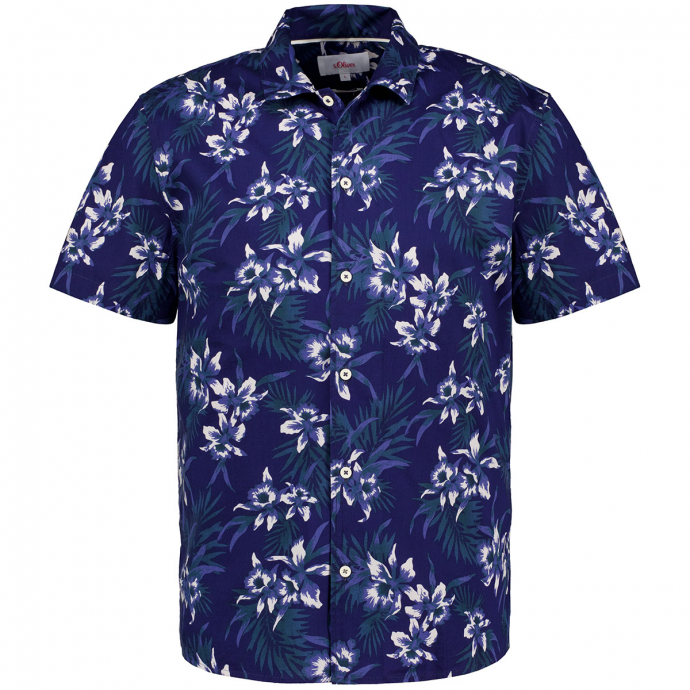 Freizeithemd im Hawaii-Stil, kurzarm blau_56A1 | 3XL