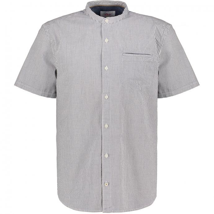 Freizeithemd mit Streifen und Stretchanteil, kurzarm blau/weiß_56G1/4020 | 3XL