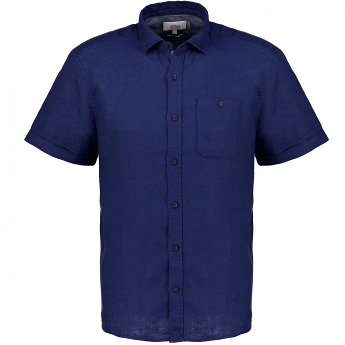 Freizeithemd aus Leinen, kurzarm blau_5693 | 3XL