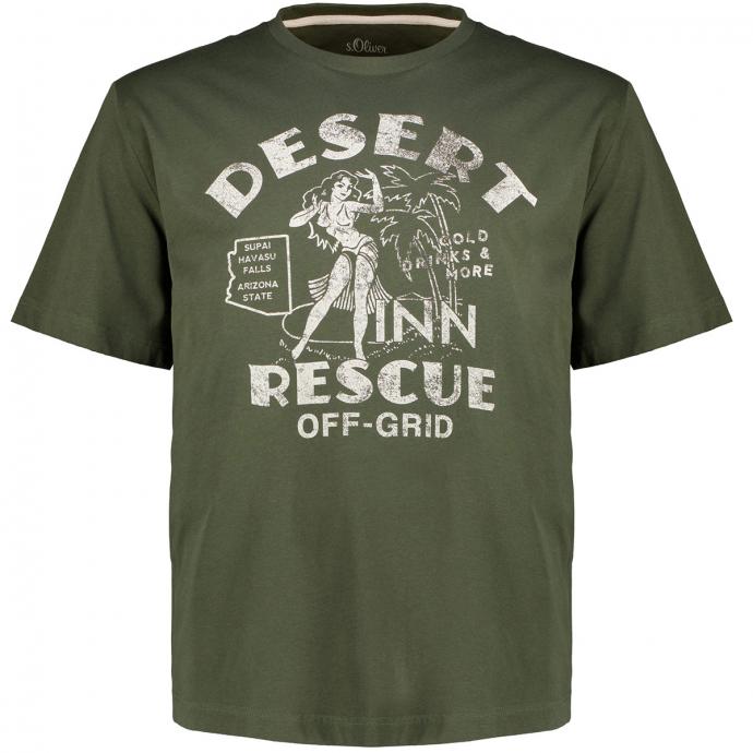 T-Shirt mit Print im Vintage-Stil oliv_7940 | 3XL