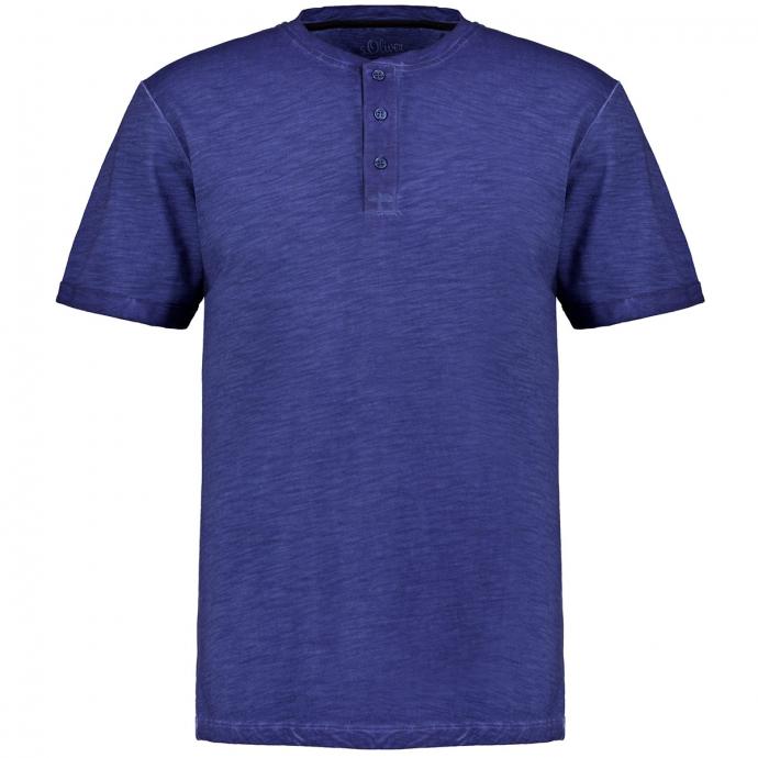 Henleyshirt Garment Dye, kurzarm blau_5693   3XL