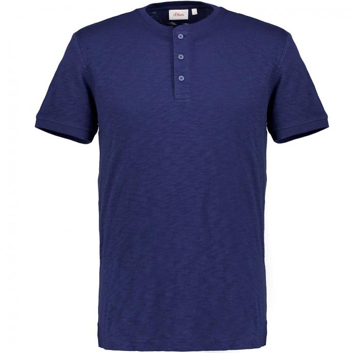 Henleyshirt mit Flammgarnstruktur, kurzarm blau_5693 | 3XL