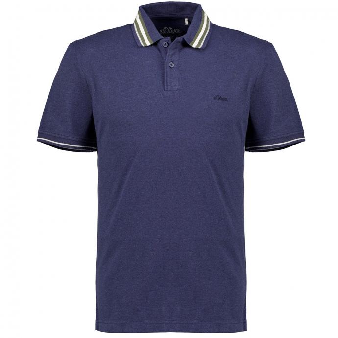 Stretch-Poloshirt mit Kontrastdetails, kurzarm dunkelblau_56W0 | 5XL