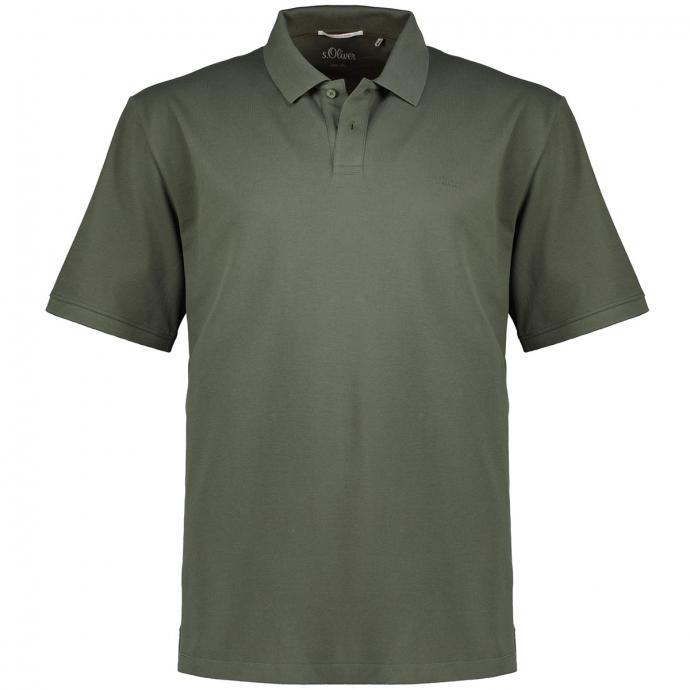 Poloshirt aus elastischem Baumwoll-Piqué, kurzarm oliv_7940   3XL