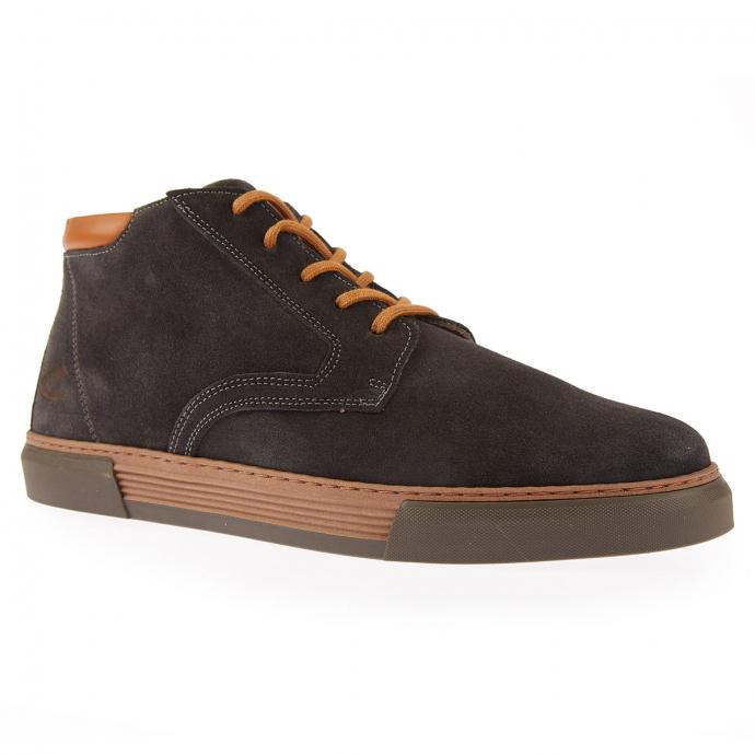 Hohe, weiche Ledersneaker zum Schnüren dunkelgrau_C86 | 43