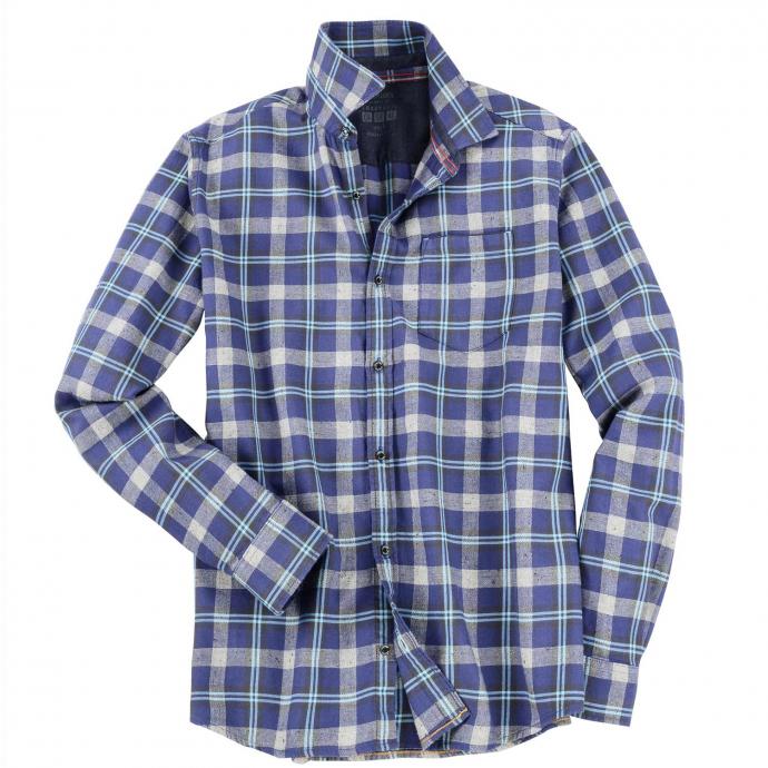 Zeitloses Freizeithemd im klassischen Karodesign, langarm blau/grau_57N7 | XXL
