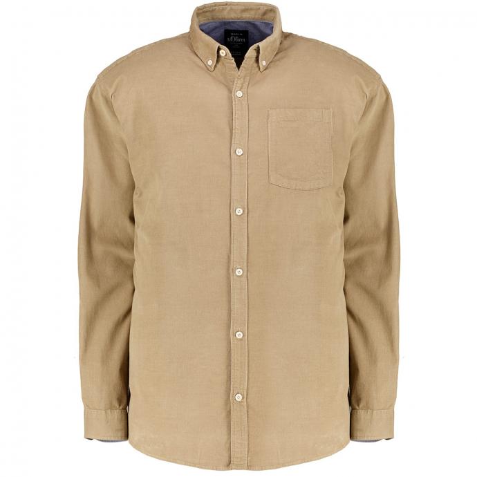 Feincord-Hemd mit Button-Down-Kragen beige_8237 | 3XL