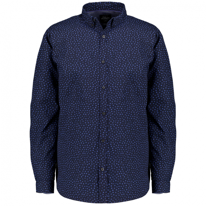 Freizeithemd mit modischem Alloverprint, langarm marine_59A1   3XL