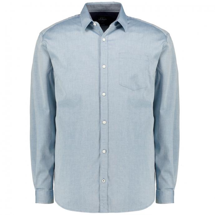 Freizeithemd aus Twill mit Stretchanteil, langarm jeansblau_6923/43 | 3XL
