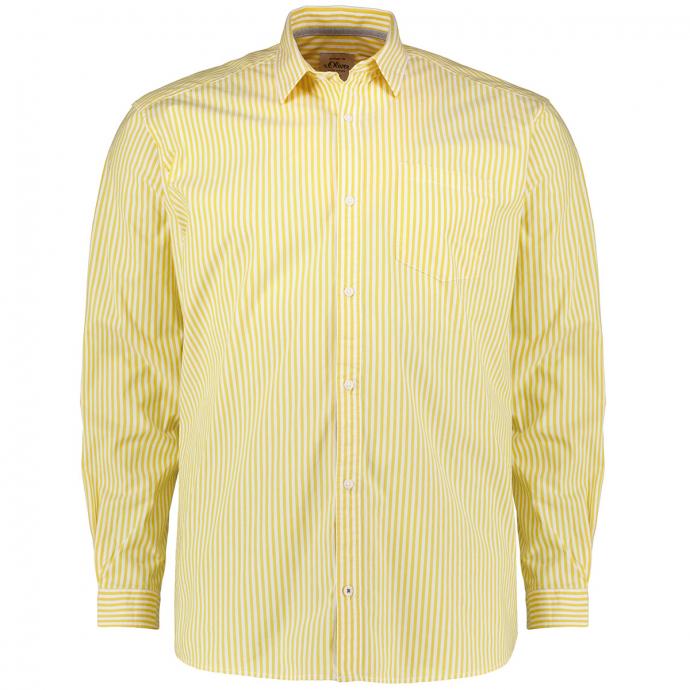 Freizeithemd aus Baumwollstretch, langarm gelb_14G2 | 3XL
