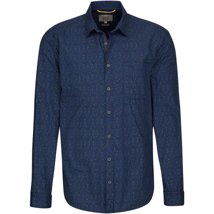 Baumwollhemd mit Alloverprint, langarm blau_14 | XXL