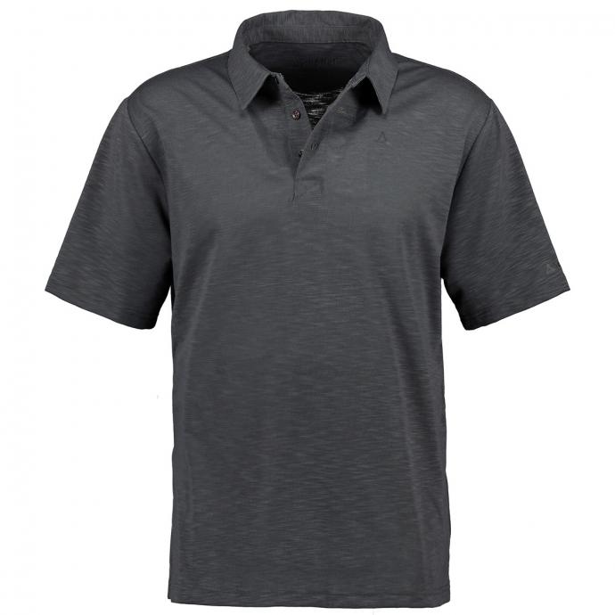 Funktionales Poloshirt in leicht melierter Optik, kurzarm anthrazit_9830 | 62