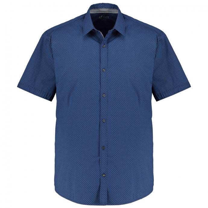 Modisch gemustertes Freizeithemd, kurzarm blau_56A4/40 | XXL