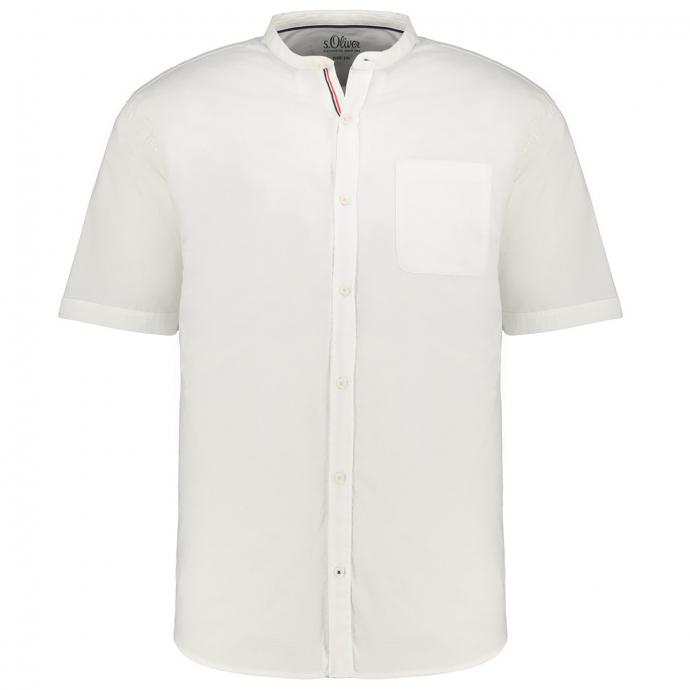 Kurzarmhemd mit Stretchanteil und Stehkragen weiß_0100 | 3XL