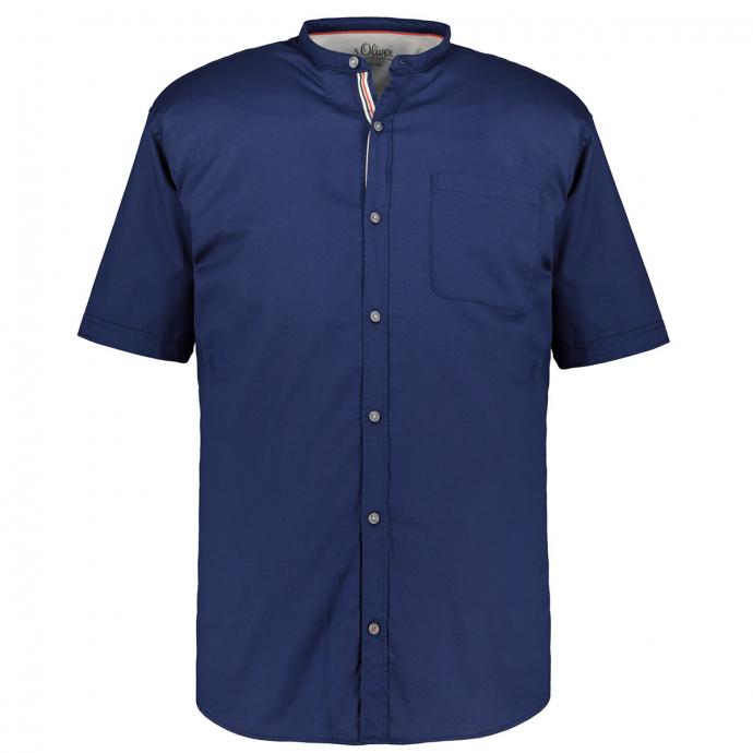 Kurzarmhemd mit Stretchanteil und Stehkragen dunkelblau_5670/400   XXL