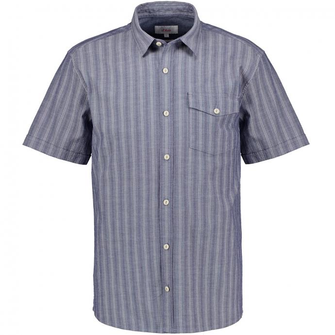 Strukturiertes Freizeithemd, kurzarm blau_56G1   3XL