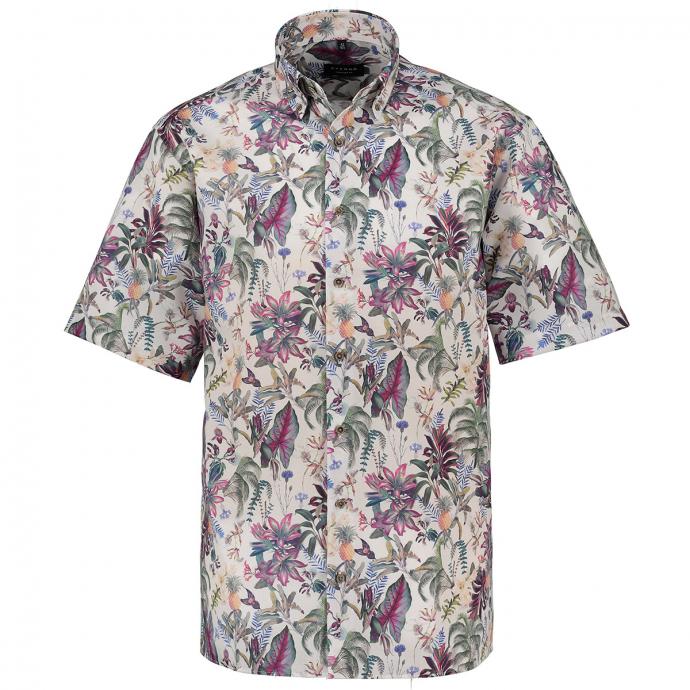 Freizeithemd mit floralem All-Over Print, kurzarm grün/weiß_46/6020 | 49