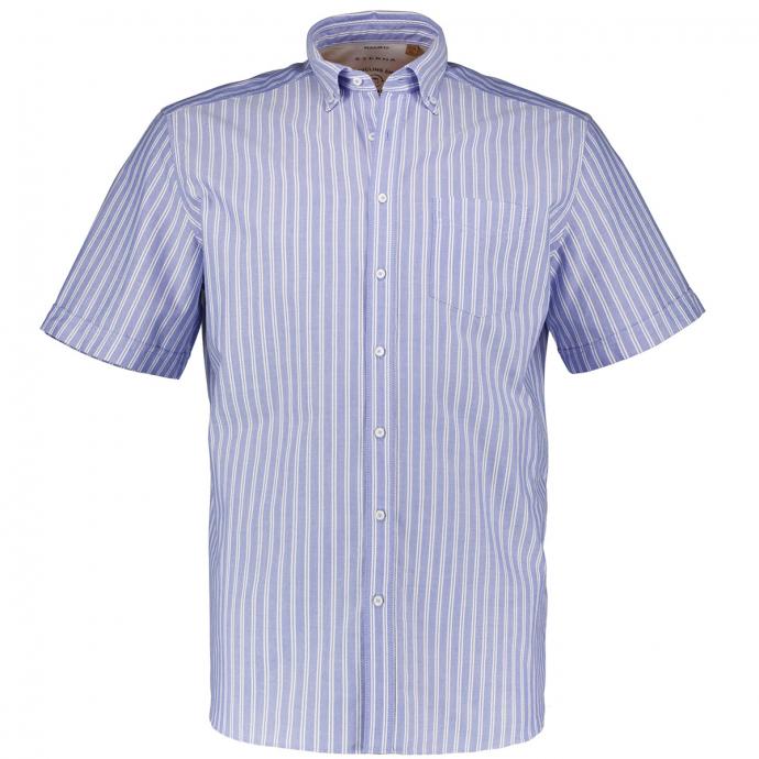 Gestreiftes Freizeithemd, kurzarm blau_15 | 46