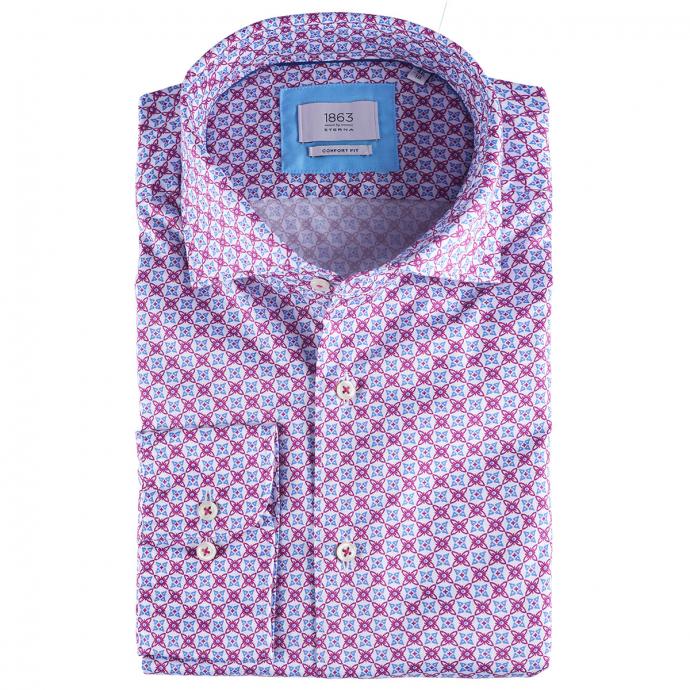 Businesshemd mit fröhlichem Allover-Print,  kurzarm violett_92 | 46