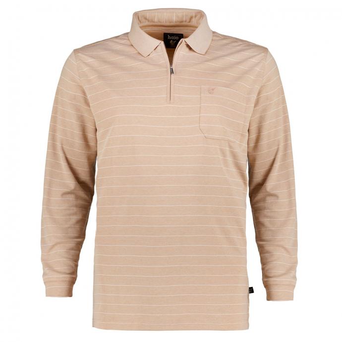 Leichtes Stretch-Poloshirt, langarm beige_231/75   3XL