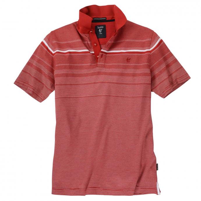 Sportives Poloshirt mit raffiniertem Streifenmuster, kurzarm rot_373 | 5XL