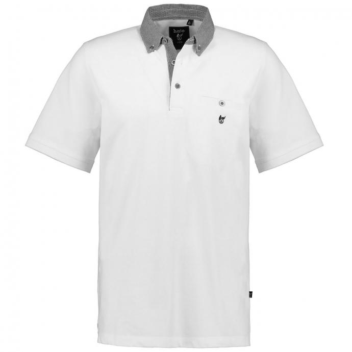 Poloshirt mit auffälligem Button-Down-Kragen, kurzarm weiß_200   3XL