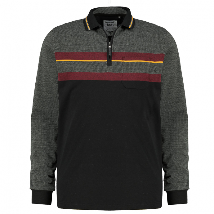 Poloshirt in Blockingcolour-Optik und stayfresh-Qualität, langarm schwarz_100   3XL