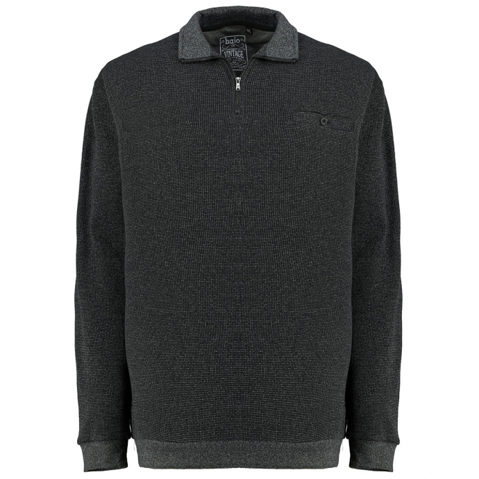 Sweatshirt mit Troyerkragen schwarz_100   3XL