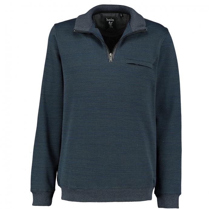 Strukturiertes Sweatshirt in stayfresh-Qualität blau/anthrazit_602/4035 | 4XL
