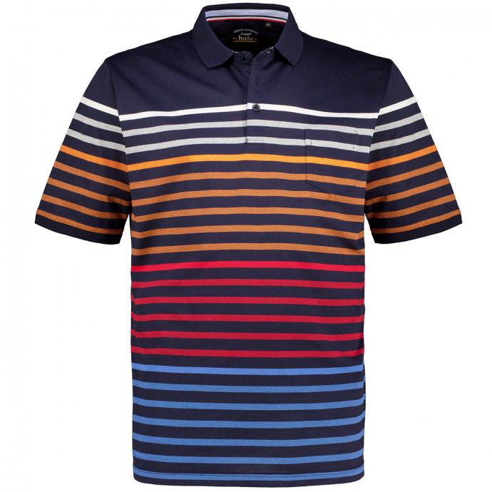 "Gestreiftes Poloshirt ""Stay Fresh"", kurzarm dunkelblau_609 | 3XL"